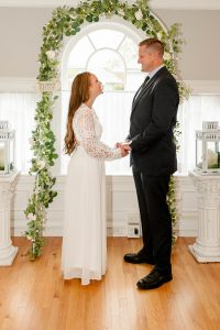 couple getting married at a chapel in quincy ma